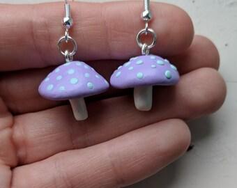 Pastel Purple Toadstool Earrings