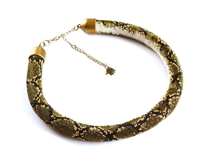 Python necklace, snake necklace, beaded necklace, skin snake necklace, statement necklace, crochet necklace, tube necklace, seed bead