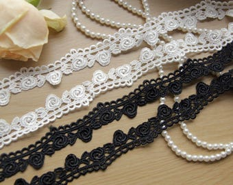 """Floral embroidery roses lace trims ribbons 2cm 0.78"""" Off white Black clothing fabrics trims supplies LXGB22"""