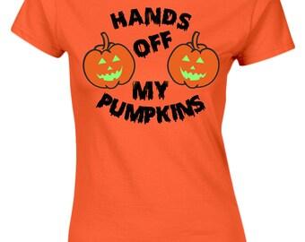 Hands Off Pumpkins Glow In The Dark Costume Fancy Dress Halloween Womens T-Shirt 8 Colours by swagwear