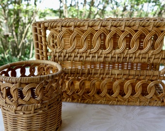 Vintage wicker rattan tissue box cover and matching cup holder bathroom accessories decor bohemian