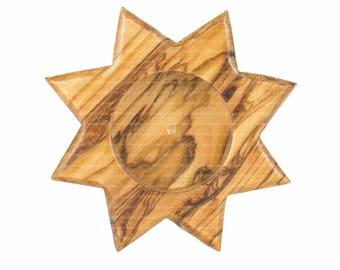Olive Wood Candle Holder Decorative Candle Star Holder