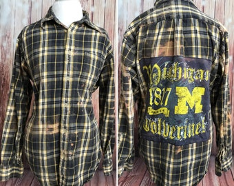 Upcycled distressed cozy flannel with a Michigan Wolverines patch size men's XL/women's XXL