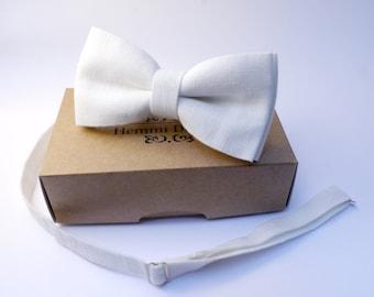 linen white bow tie, White bow tie- Groom's Bow tie, bow tie for men