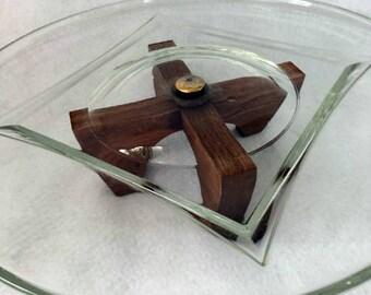 Vintage Danish Modern Glass and Wood Cake Plate