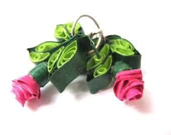 Rose earrings, paper quilling jewerly, green dangle eco earrings, first anniversary gifts for her
