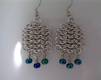Blue-Green Chainmail Earrings, European 4-in-1, Blue Chain Mail Earrings, Chainmaille Earrings, Chain Maille Earrings, European 4 in 1