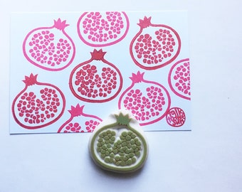 pomegranate stamp | fruit rubber stamp | diy birthday christmas scrapbooking | summer crafts | gift for her | hand carved by talktothesun