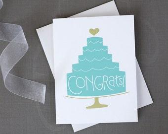 Blue Wedding Cake Congratulations Card / Hand Lettered Congrats Card / Wedding Cake Illustration / Modern Wedding Greetings