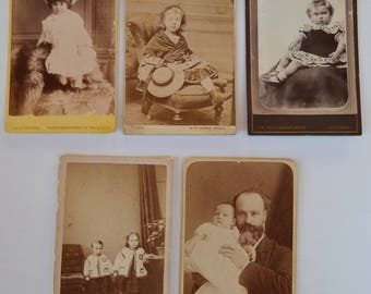 Collection of 5 CDV Photographs with Children