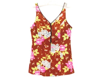60s tank top * vintage 1960s swimwear top * floral bathing suit top * swimsuit top * large / xl