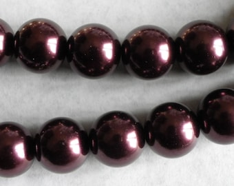 15 pearls 14 mm Brown glass Pearl mother of Pearl