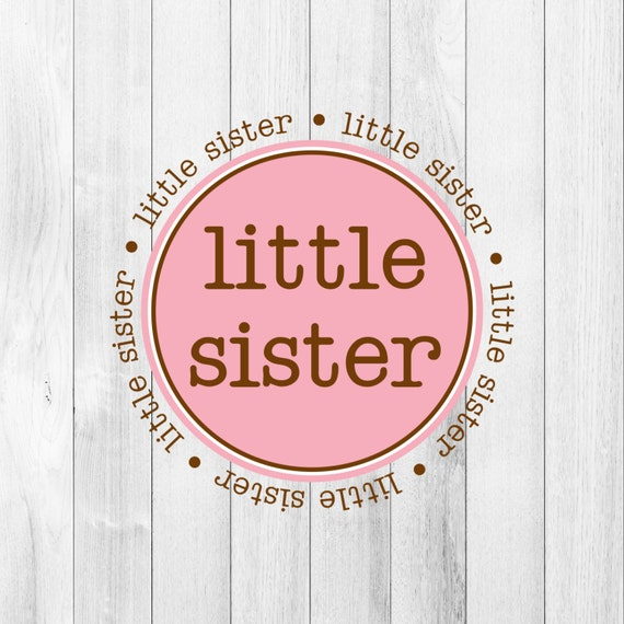 INSTANT Download Digital PDF Little Sister Pink Brown Printable DIY Iron On to Tee T-Shirt Transfer Announcement Gift