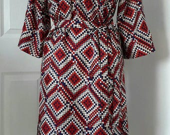Vintage Collarless Shirt Dress / 70s Navy Red White Beige Pattern Dress / Vintage Shirt Dress / Silky Polyester