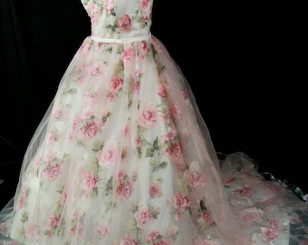 Beautiful blush pink floral wedding dress Made to order
