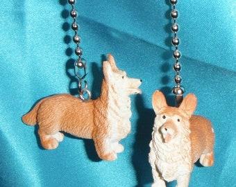 Set of Two ~ Corgi Puppy Dog Pet Animal ~ Ceiling Fan Pulls