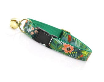 "Tropical Cat Collar Breakaway - ""Jungle Green"" - Rifle Paper Co® Cat Collar / Summer / Cat Collar Personalized - Cat, Kitten, Small Dog"