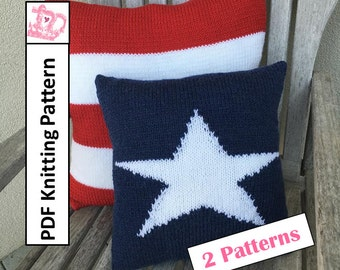 PDF KNITTING PATTERN, American Flag knitting patterns, Stars and Stripes, pillow cover knitting pattern