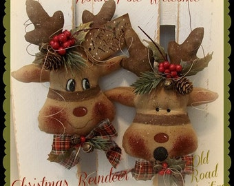 Primitive Reindeer Pattern North Pole Welcome Christmas Reindeer Pattern
