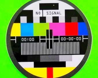 TV Test Pattern Colour Bars No SIgnal Off the Air Retro Kitsch Big Round Rainbow Color Glossy Vinyl Sticker