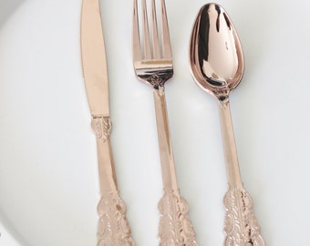 SALE 50 FAUX COPPER Cutlery Plastic Spoons Tableware Rose Gold Vintage Style Wedding Shower Tea Party Shabby Chic Garden : vintage style tableware - pezcame.com