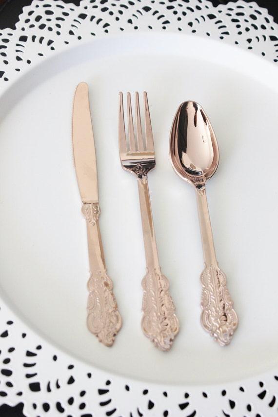 SALE 30 FAUX COPPER Cutlery Plastic Forks Spoon Knives
