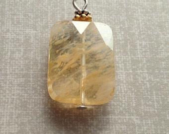 Gemstone Pendant -Beaded Pendant, gemstone pendant, wire wrapped pendant - faceted rectangle pendant honey quartz