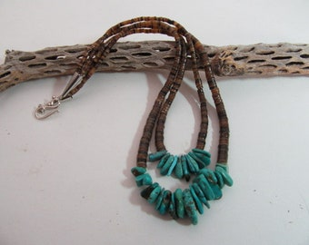 Turquoise Necklace, Turquoise and Heishi Necklace, Southwest Necklace, Southwest Style Necklace, Free Shipping