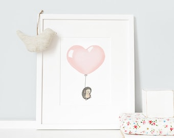 "Peach Pink Heart Balloon, UNFRAMED 16x12"" Print, Girl's Nursery, Children's Art, Kid's Wall Art, Bedroom Decor, Whimsical, Archival Print"