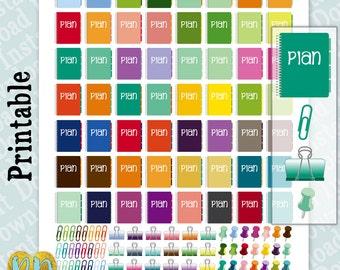 Spiral Bound Planner Printable Planner Stickers, Thumbtacks, Binder Clips, Paper Clip stickers, Spiral Notebook Office Planner Printables