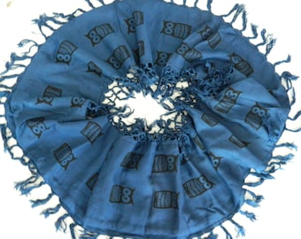 Electric blue scarf, up-cycled infinity scarf, black owl print scarf,  hand printed cotton scarf, eternity scarf, neck-wear, great Gift
