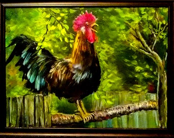 The Rooster ** Original oil painting on canvas