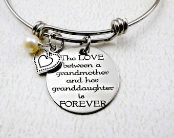 Love Between A Grandmother and Grand Daughter Is FOREVER  Bangle Bracelet  - Grandma Nana Mimi - Grandma Gift - Granddaughter Gift