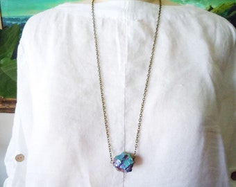Rainbow Quartz Necklace, Rainbow Crystal Necklace, Raw Crystal Necklace, Boho Necklace, Boho Jewelry, Long Chain Necklace
