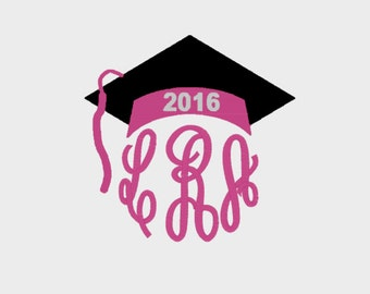 Graduation Cap for Class of 2016 Monogram Toppers embroidery file in 3 sizes (Font NOT included) - INSTANT DOWNLOAD - Item # 2042