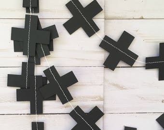 Black Cross Garland, Monochrome Party Garland, Black White Nursery Decor, Monochrome Cross Garland, Black White Banner, Monochrome Kids Room