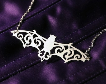 Silver Bat Jewelry in stainless steel - bat necklace, vampire jewelry, bat pendant silhouette jewelry