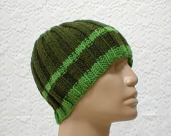 Olive kiwi green striped beanie hat, toque, skull cap, green hat, ribbed hat, mens womens knit hat, striped hat, green beanie hat, hiking