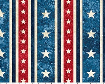 Patriotic Stripes Stars and Stripes Stonehenge Quilt Fabric by the 1/2 yard