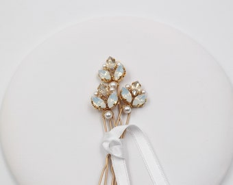 Hair Pins - White Opaline and Gold Crystal Rhinestones - Bridal  Hair Pins -Bun Pins -  Wedding Hair style -