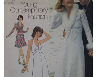 Halter Dress, Jacket Pattern, 1970s, V Neck, Fitted, Flared Skirt, Collar Simplicity No. 6658 UNCUT Size 7, 9 Junior  OR Size 16 (cut)