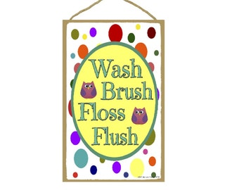"Wash, Brush, Floss, Flush Owls & Polka Dots Bathroom Sign Plaque 7""X10.5"""