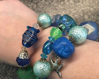 Ocean themed beaded bracelet