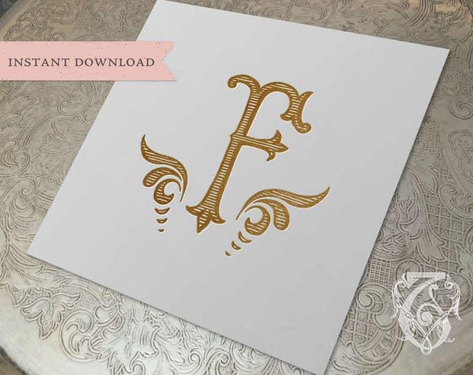 Vintage Wedding Initial Crest F Digital Download
