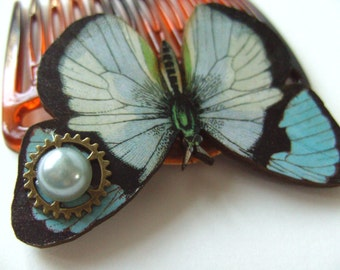Blue and pale grey, Butterfly, wooden butterfly, hair comb, hair slide, steampunk, by NewellsJewels on etsy