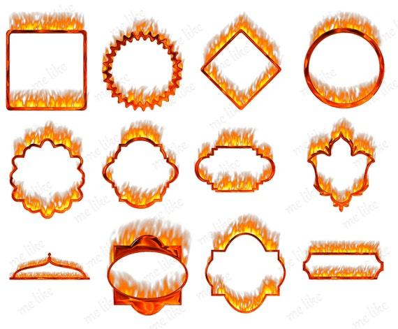 Digital Flame Frames Clip Art Pack-INSTANT DOWNLOAD-12 Individual ...
