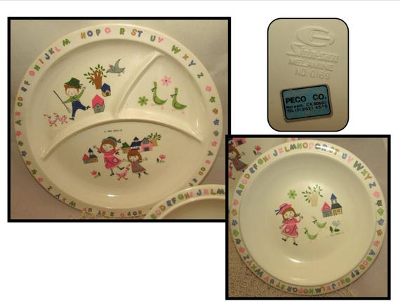 Like this item?  sc 1 st  Etsy & Vintage Hard Plastic Melamine Childrens Plate u0026 Bowl tableware