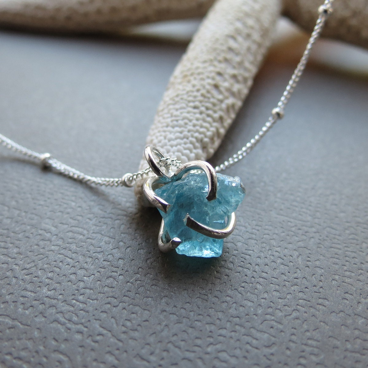 Rough apatite gemstone necklaceuncut rough gemsterling zoom mozeypictures Images