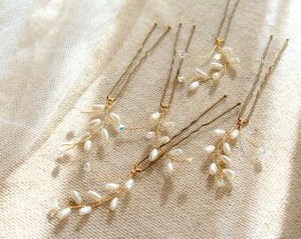 FERN x5 Hair Pin Set, Pearl Hair Pins, Wedding Hair Pins, Bridal Hair Picks, Wedding Hair Accessory, Pearl Hair Pin Set, Bridesmaids Pins.