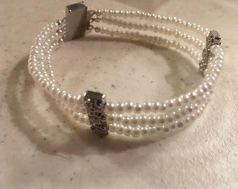 White Pearl Bracelet - Silver Jewelry - June Birthstone Jewellery - Bride - Triple Strand - Box Clasp